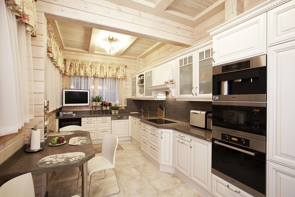Кухня в деревянном доме фото дизайн